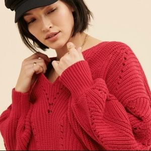 Free People Flirty Red All Day Long Sweater SM NWT